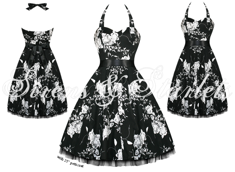 LADIES NEW BLACK WHITE FLORAL VTG 50S PINUP ROCKABILLY PARTY PROM SWING DRESS