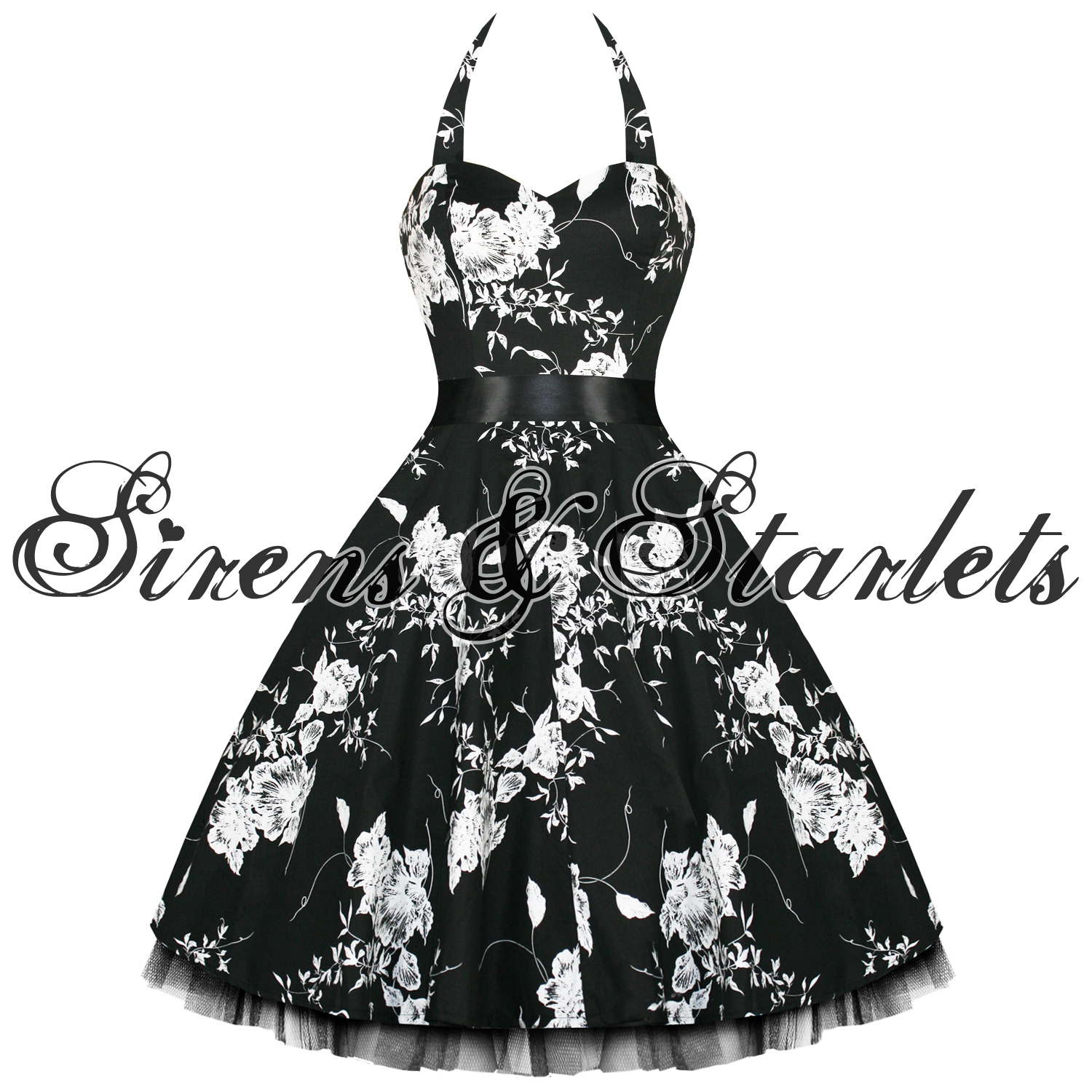 Dress-Womens-Rockabilly-Party-Prom-Swing-VTG-1950s-50s-Pinup-Black-White-Floral