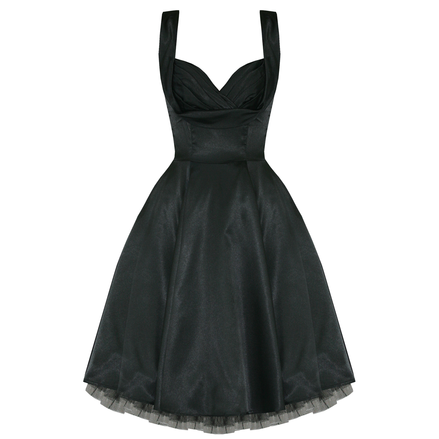 LADIES-NEW-BLACK-SATIN-VINTAGE-50S-RETRO-PINUP-PARTY-PROM-SWING-EVENING-DRESS