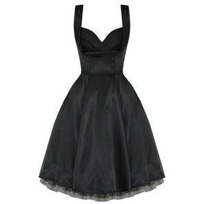 Ladies New Black Satin Vintage 50s Retro Pinup Party Prom Swing Evening Dress