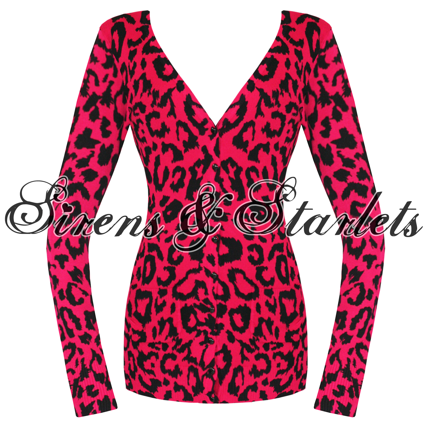 BANNED PINK LEOPARD KNITTED ROCKABILLY LONG FITTED CARDIGAN JUMPER ...