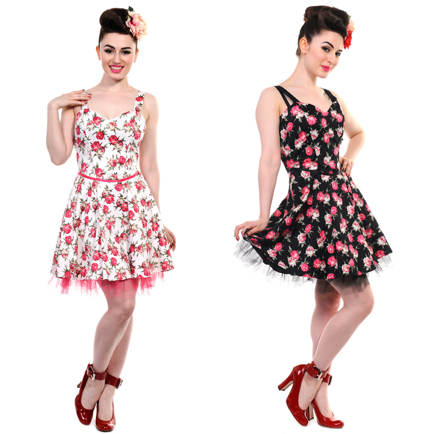 Banned new ladies black white pink floral vintage 50s rockabilly image is loading banned new ladies black white pink floral vintage mightylinksfo