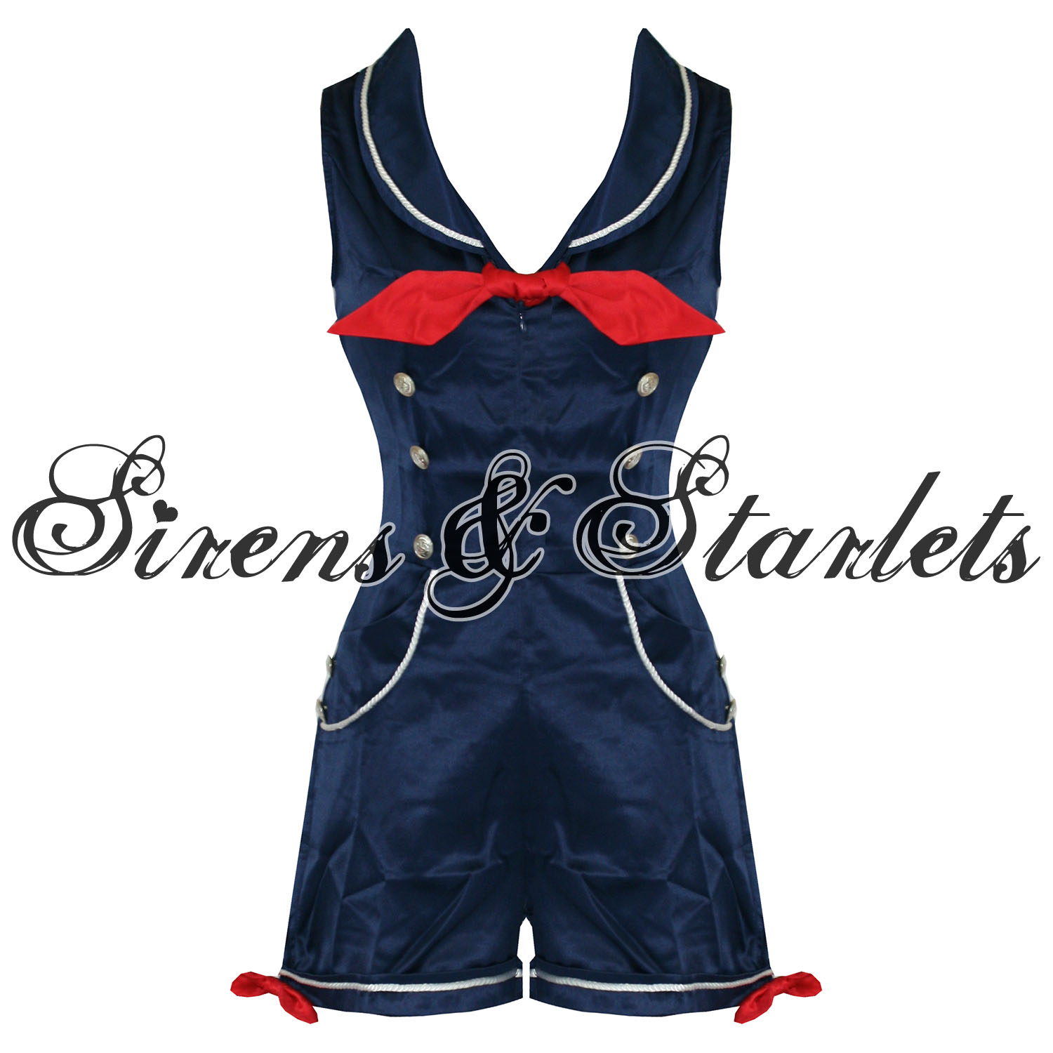womens playsuit banned navy satin rockabilly sailor pinup costume vintage ebay. Black Bedroom Furniture Sets. Home Design Ideas