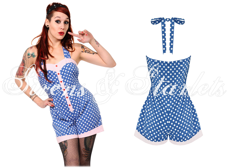 BANNED LADIES BLUE POLKA DOT ROCKABILLY 50S RETRO VINTAGE PINUP ROMPER PLAYSUIT