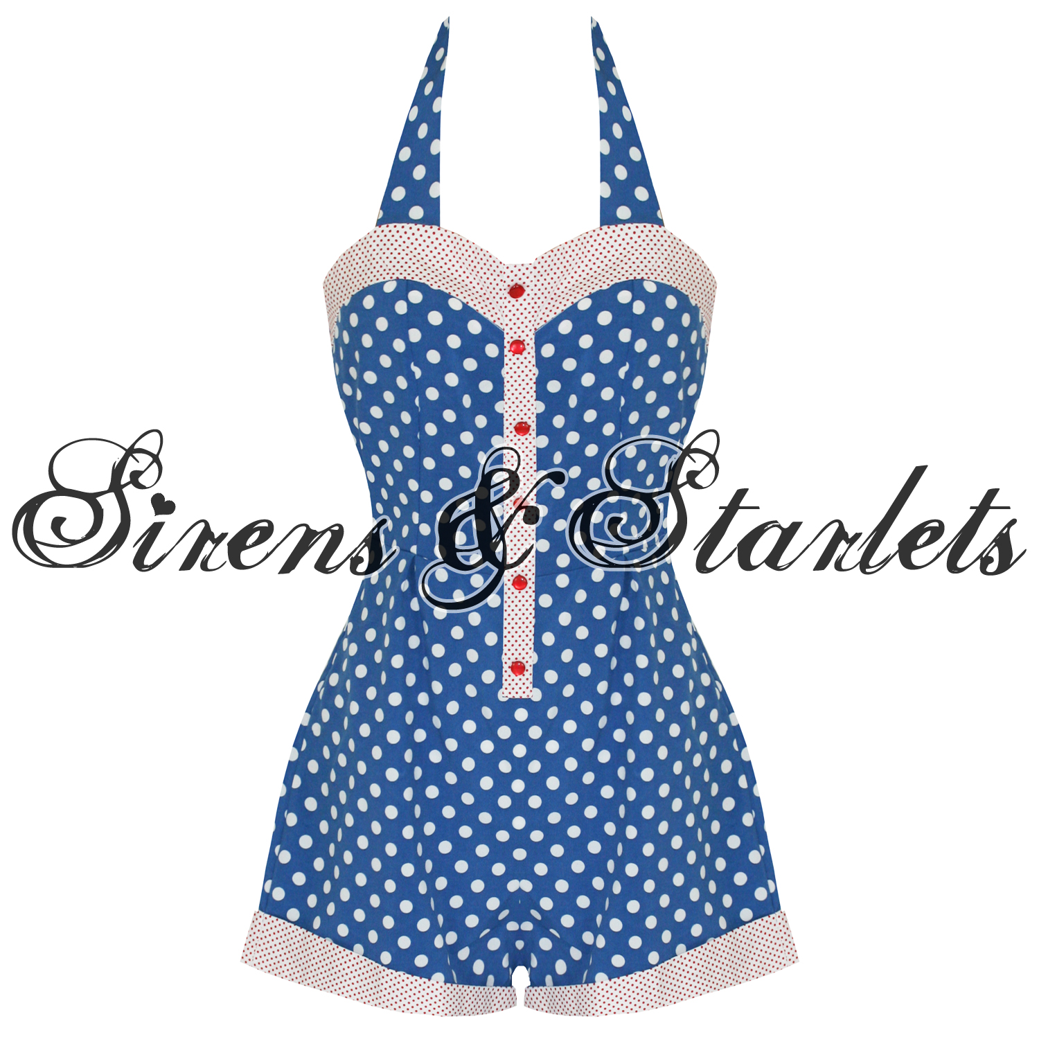 BANNED-LADIES-BLUE-POLKA-DOT-ROCKABILLY-50S-RETRO-VINTAGE-PINUP-ROMPER-PLAYSUIT