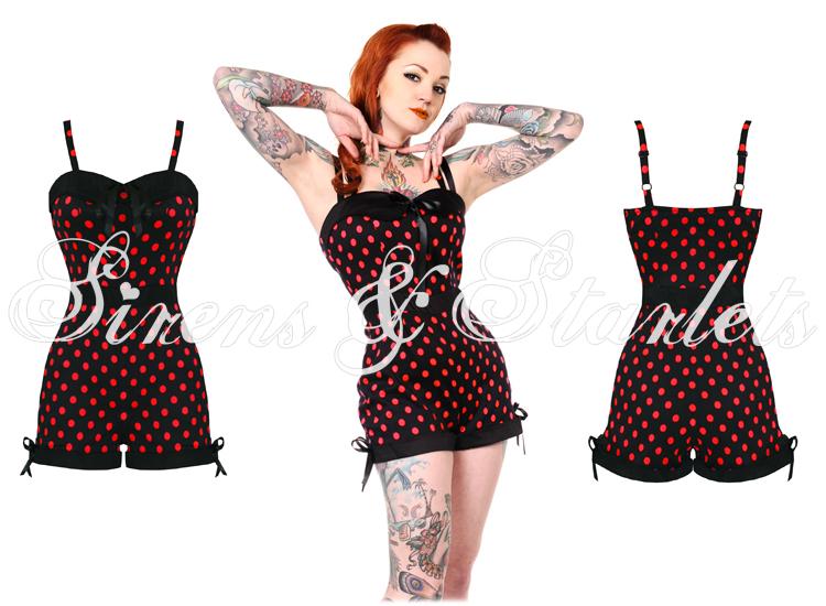 banned ladies red polka dot rockabilly 50s retro vintage pinup romper playsuit ebay. Black Bedroom Furniture Sets. Home Design Ideas