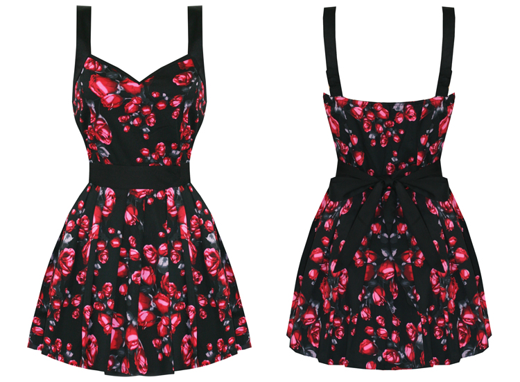 BANNED NEW LADIES BLACK PINK ROSE FLORAL ROCKABILLY VTG 50S PARTY PROM DRESS