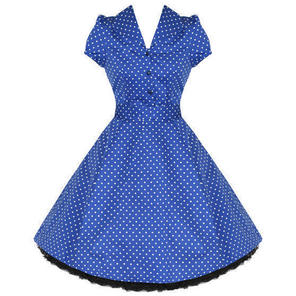 Hearts and Roses London Blue Polks Dot 1950s Dress