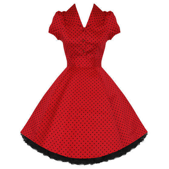 Hearts and Roses London Red Polka Dot 1950s Dress