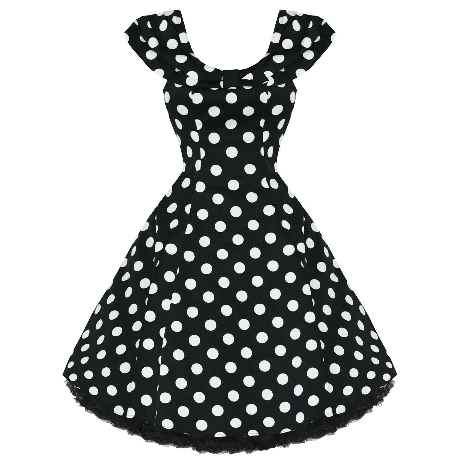 WOMENS LADIES NEW VINTAGE 1950S VTG BLACK POLKA DOT PARTY