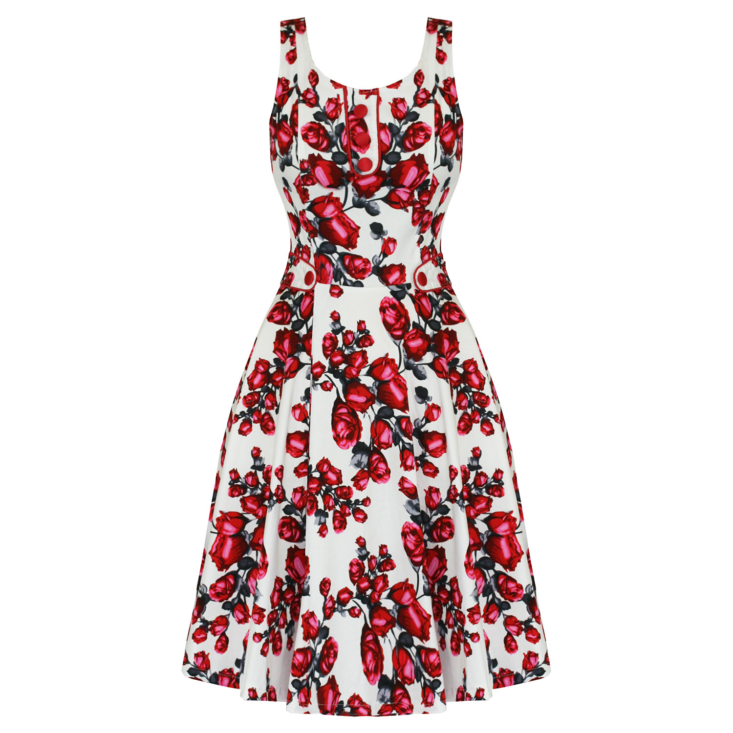 Voodoo Vixen Ladies New White Red Floral 50S Vintage Rockabilly Party Tea Dress Preview
