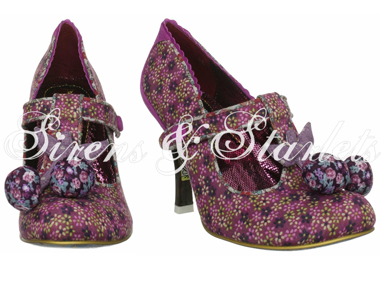 IRREGULAR CHOICE I LOVE MARK PINK FORAL VINTAGE RETRO 50S 60S STYLE PUMPS SHOES