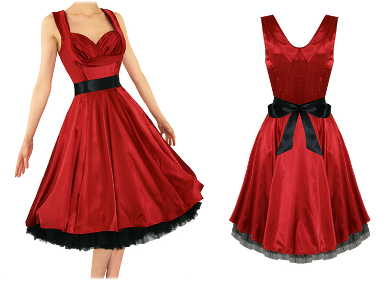 Ladies New Red Satin Vintage 50S Retro Pinup Party Prom Swing Evening Dress