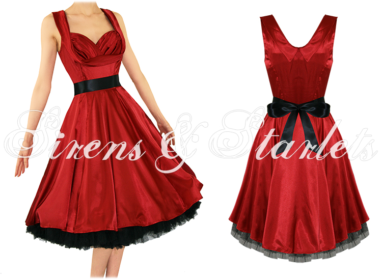Robe Femme Satin Soiree Vintage Rouge Pinup Annee 50 Bal