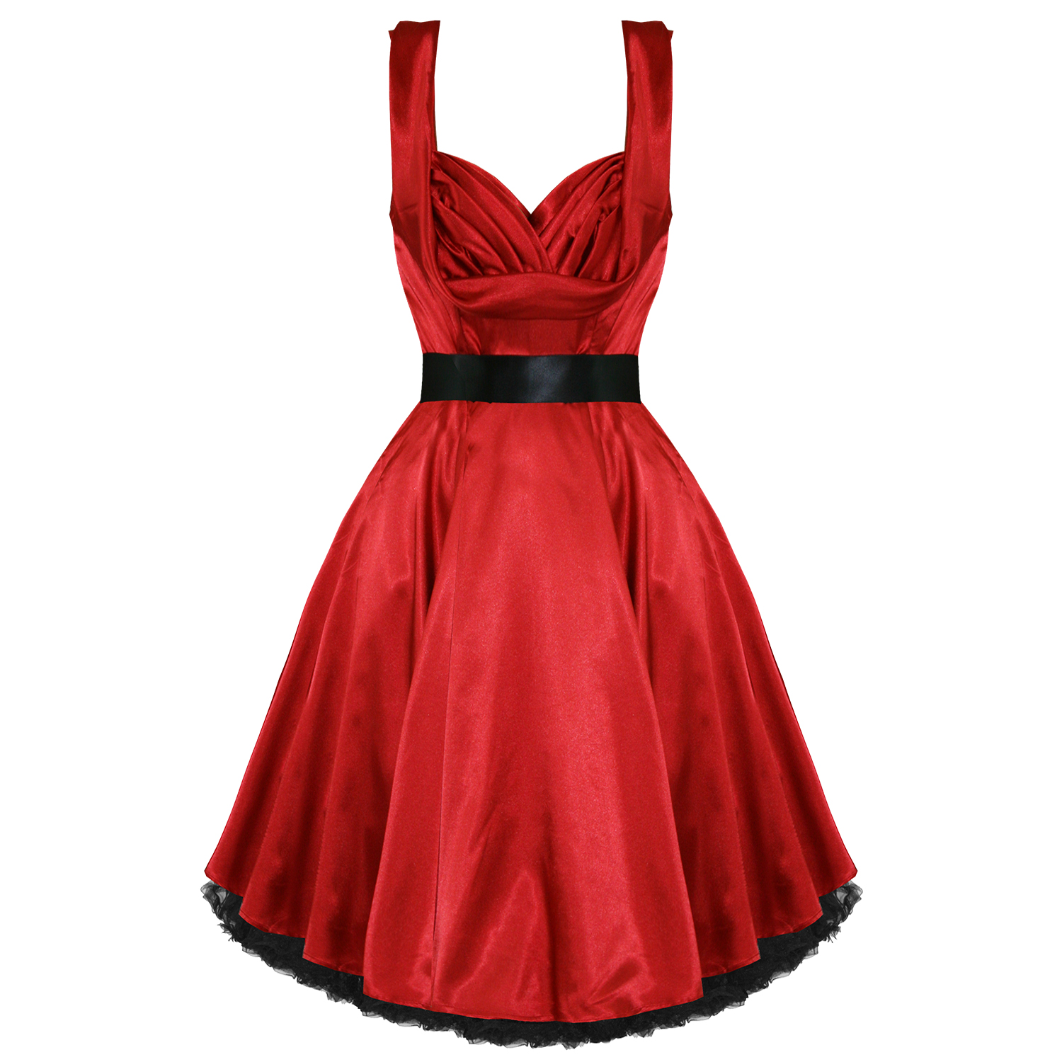 LADIES-NEW-RED-SATIN-VINTAGE-50S-RETRO-PINUP-PARTY-PROM-SWING-EVENING-DRESS