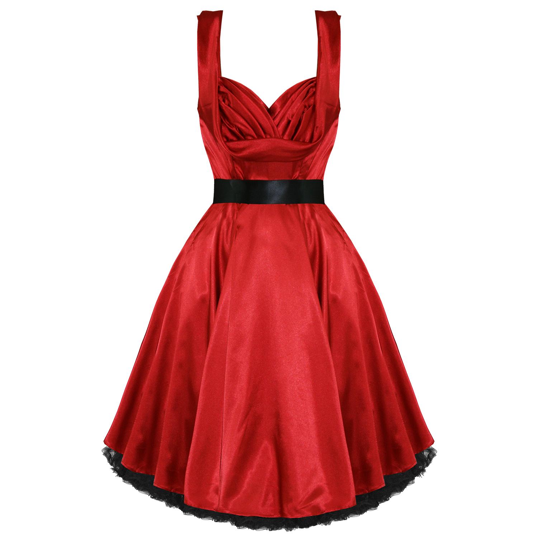 adb169eb4e3b Vestito Donna Stile Vintage Anni 50 Raso Rosso Abito Da Sera Retro Pin