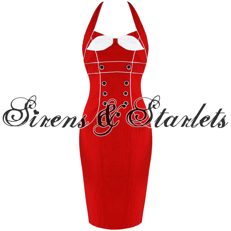 Robe-Crayon-Femme-Voodoo-Vixen-Annees-50-Vintage-Rouge-Rockabilly ...