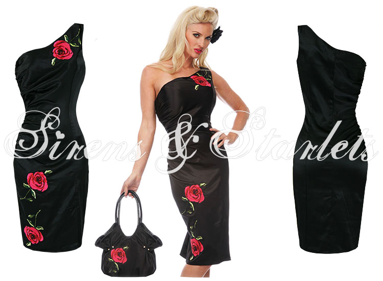 Damen kleid voodoo vixen schwarz satin blumen vintage 40er 50er rockabilly party ebay - Rockabilly outfit damen ...