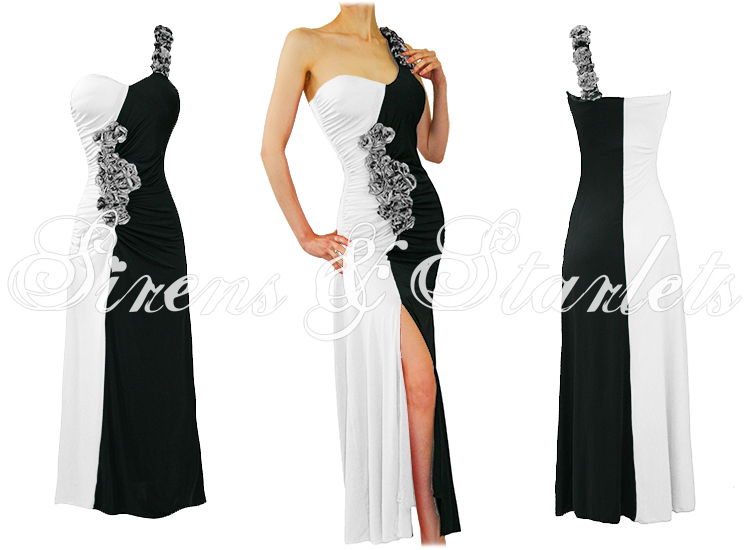 LADIES NEW WHITE FLORAL ONE SHOULDER LONG MAXI EVENING COCKTAIL PROM GOWN DRESS