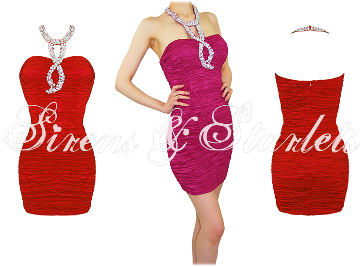 Robe Soiree Bustier Rouge Moulante Cocktail Courte Neuf