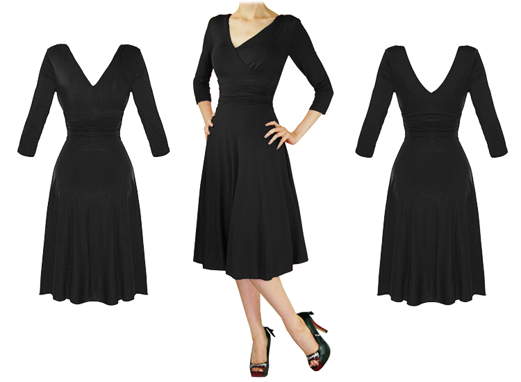 LADIES NEW BLACK LONG SLEEVE WRAP 50S VINTAGE STYLE CAREER EVENING PARTY DRESS
