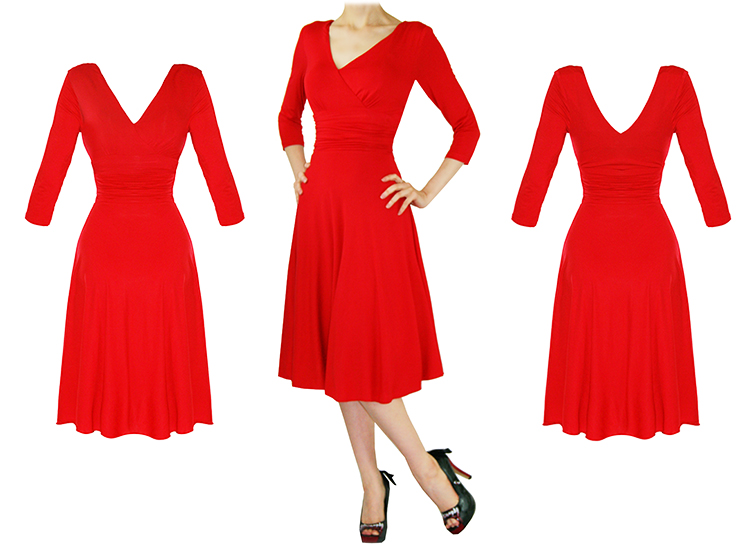 LADIES NEW RED LONG SLEEVE WRAP 50S VINTAGE STYLE CAREER EVENING PARTY DRESS