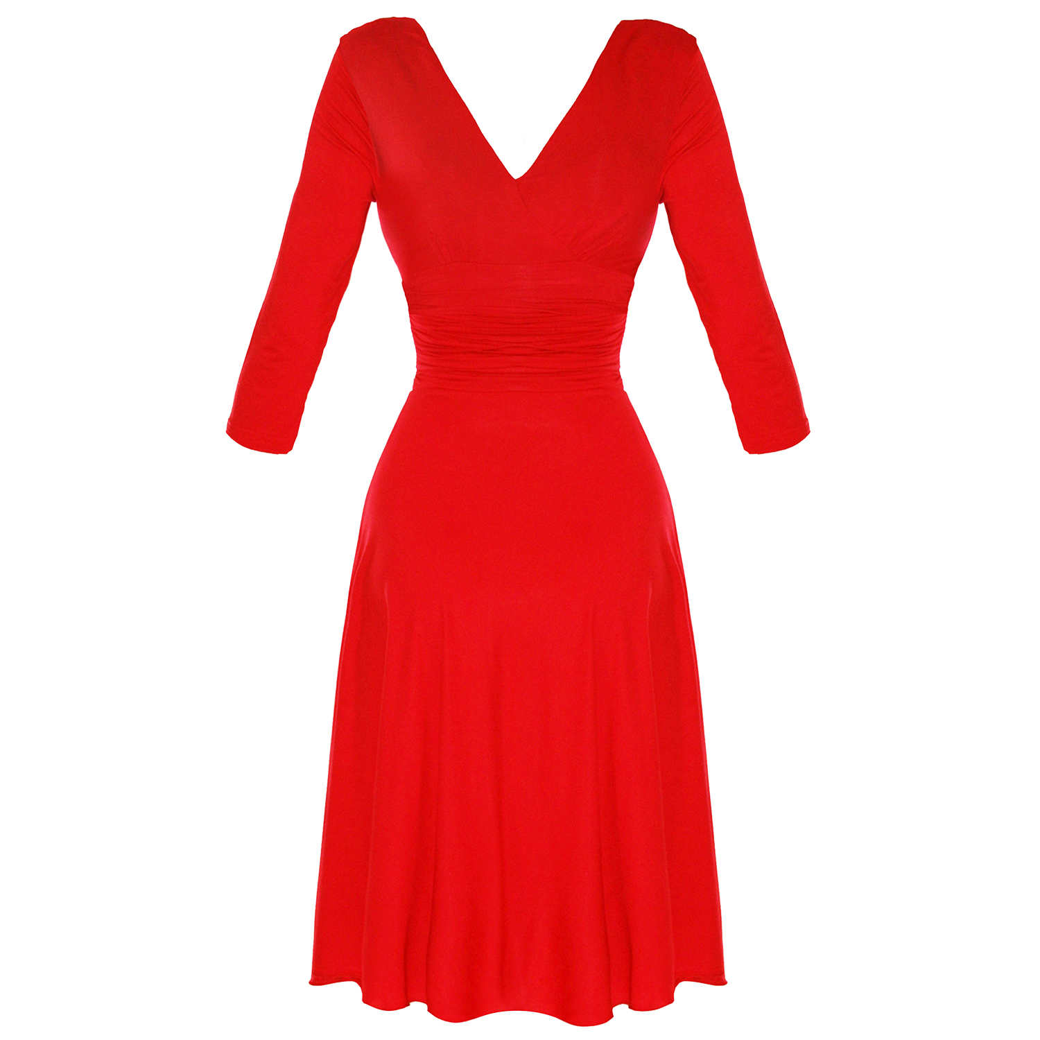 LADIES-NEW-RED-LONG-SLEEVE-WRAP-50S-VINTAGE-STYLE-CAREER-EVENING-PARTY-DRESS
