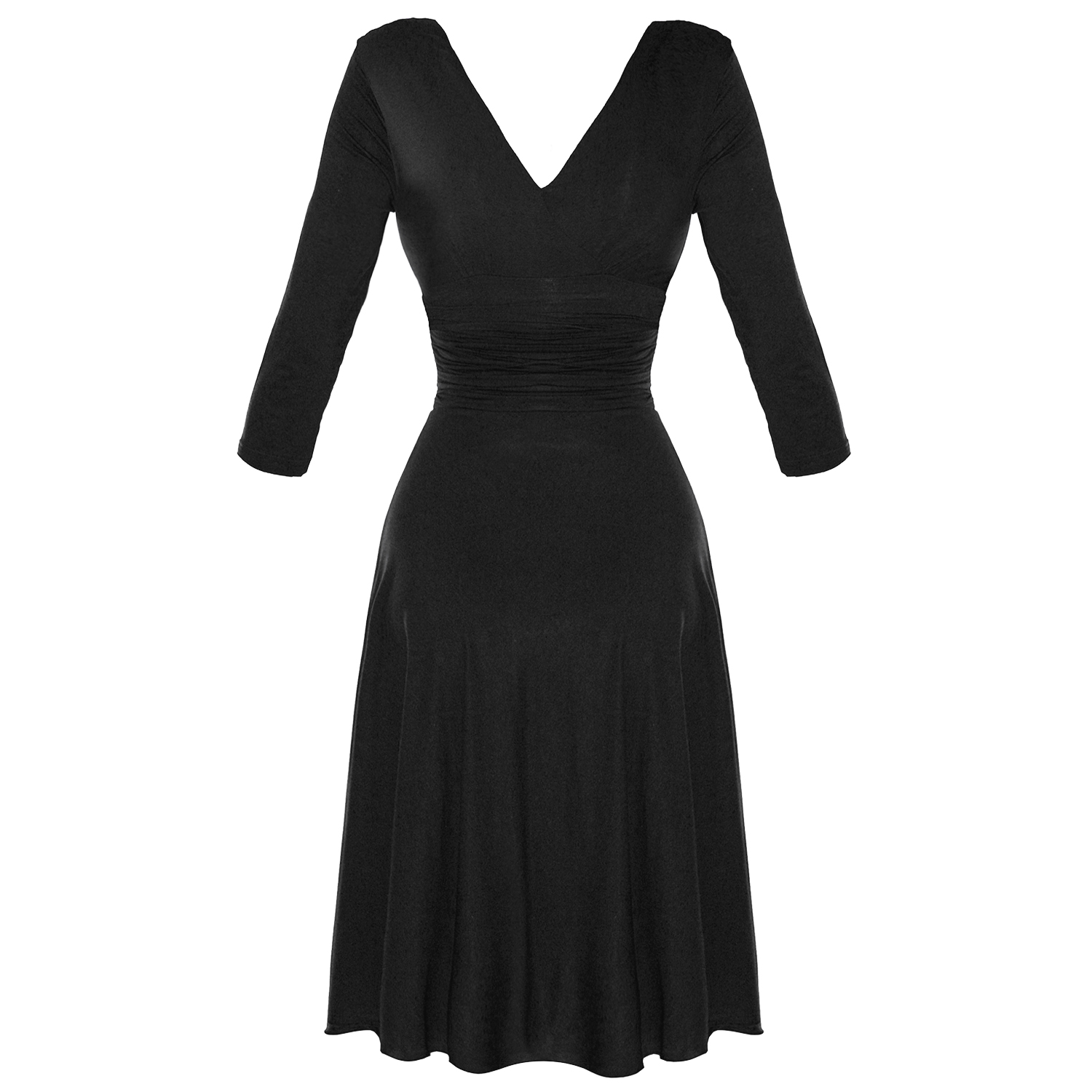 LADIES-NEW-BLACK-LONG-SLEEVE-WRAP-50S-VINTAGE-STYLE-CAREER-EVENING-PARTY-DRESS