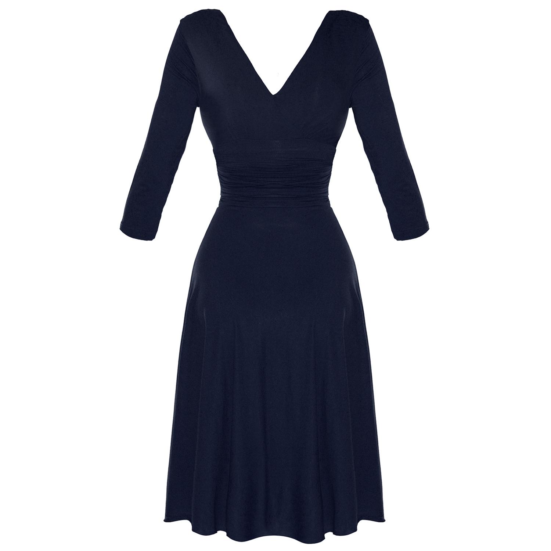 robe drape femme bleu marine manche longue annees 50. Black Bedroom Furniture Sets. Home Design Ideas