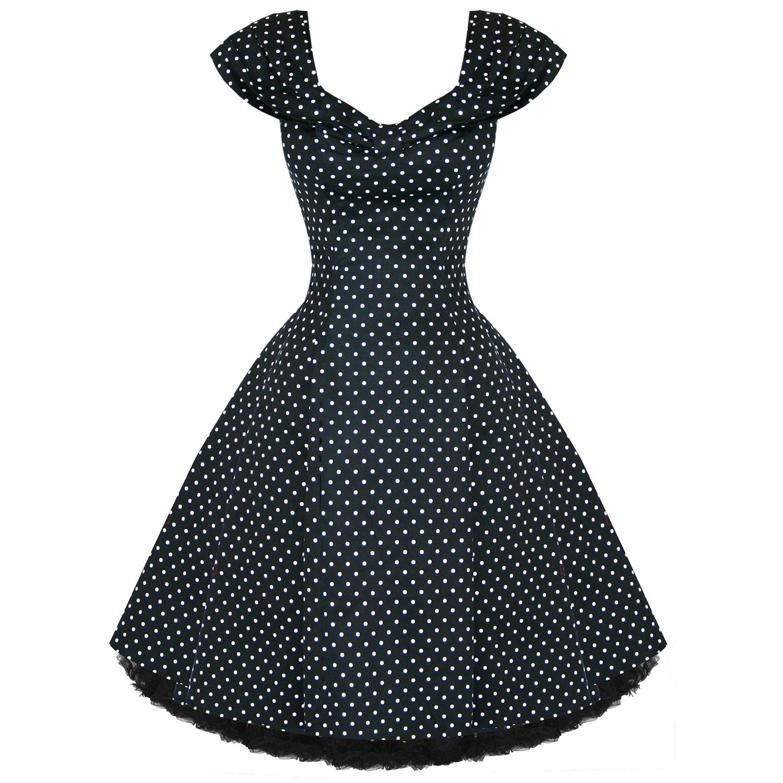 Vintage Année 50 intérieur robe femme soiree rock vintage annee 50 noir pois blanc | ebay