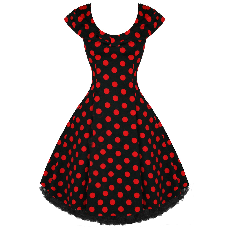 25d88668e Vestido Vintage Años 50 Falda Vuelo Estilo Rockabilly Negro Lunares Rojos |  eBay