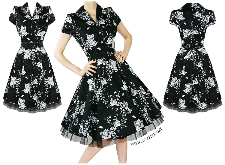 LADIES BLACK FLORAL VINTAGE 50S RETRO ROCKABILLY PARTY PROM SWING TEA DRESS