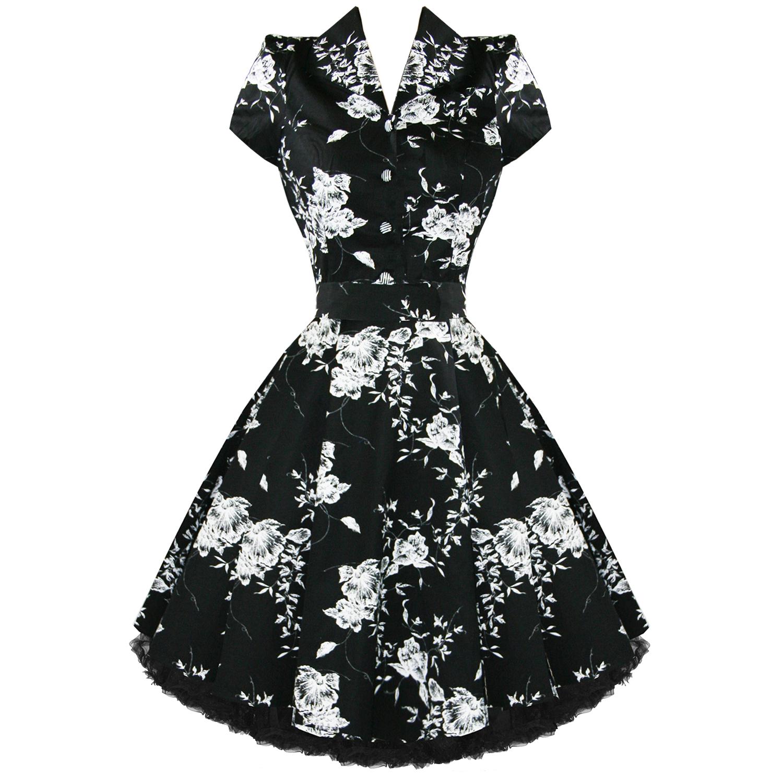 ... Donna-Stile-Vintage-Anni-50-Nero-Floreale-Abito-Retro-Rockabilly-Swing