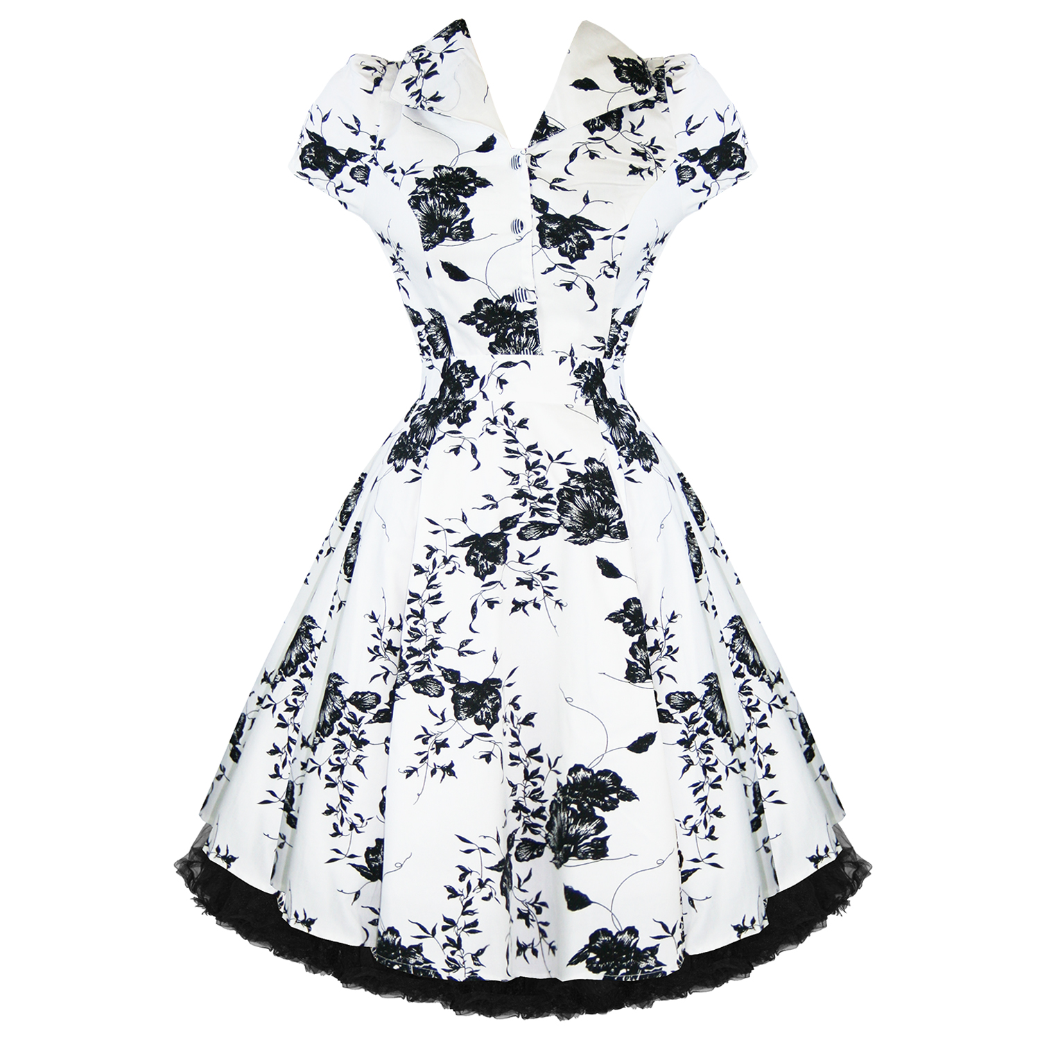 LADIES-WHITE-FLORAL-VINTAGE-50S-RETRO-ROCKABILLY-PARTY-PROM-SWING-TEA-DRESS