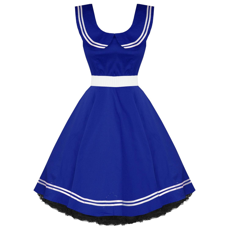 Ladies new blue 50s vintage nautical sailor rockabilly for Rockabilly outfit damen