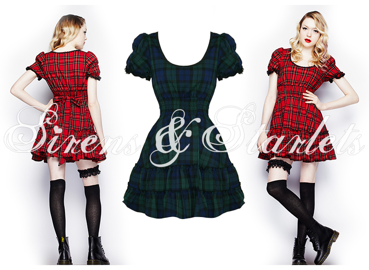 HELL BUNNY MAVIS BLUE GREEN TARTAN GOTHIC LOLITA PUNK EMO PROM PARTY MINI DRESS