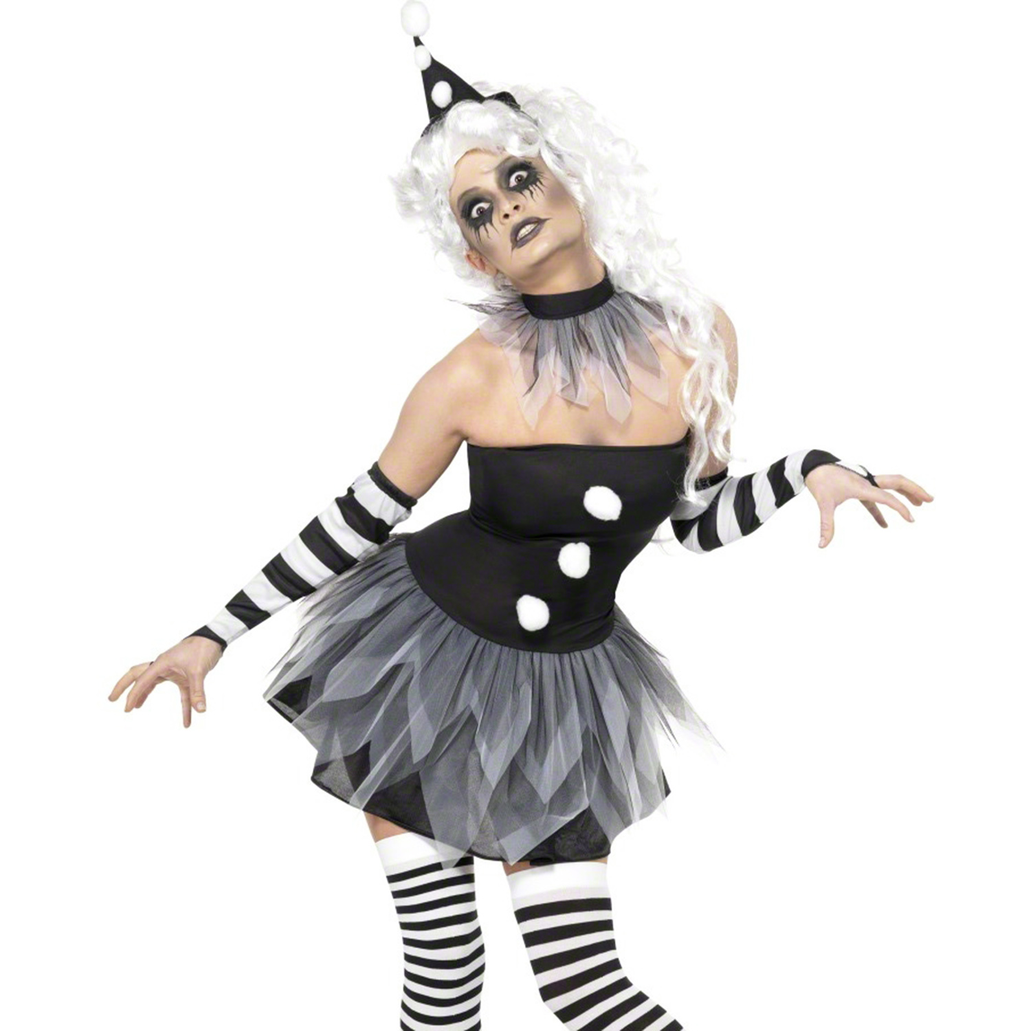ladies new sexy zombie pierrot clown halloween goth fancy dress outfit costume ebay. Black Bedroom Furniture Sets. Home Design Ideas