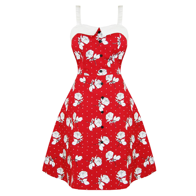 robe femme dead threads pin up ann es 50 rouge fleur rose. Black Bedroom Furniture Sets. Home Design Ideas