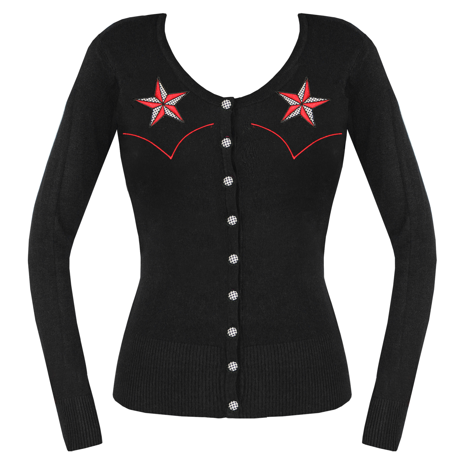 damen strickjacke pullover schwarz tattoo stern rockabilly. Black Bedroom Furniture Sets. Home Design Ideas