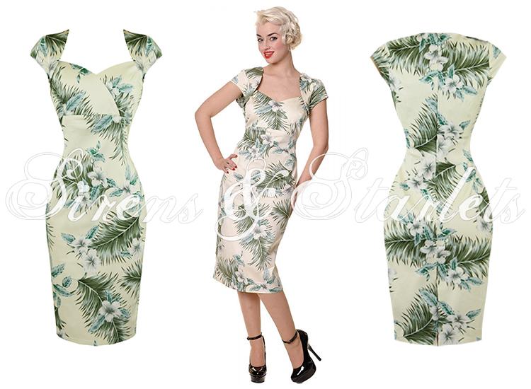 COLLECTIF REGINA Vintage Kleid 50er Jahre Weiß Blumenmuster ...