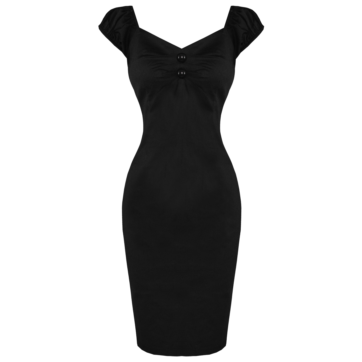 COLLECTIF-DOLORES-PLAIN-BLACK-FITTED-VINTAGE-1950S-CAREER-PENCIL-WIGGLE-DRESS