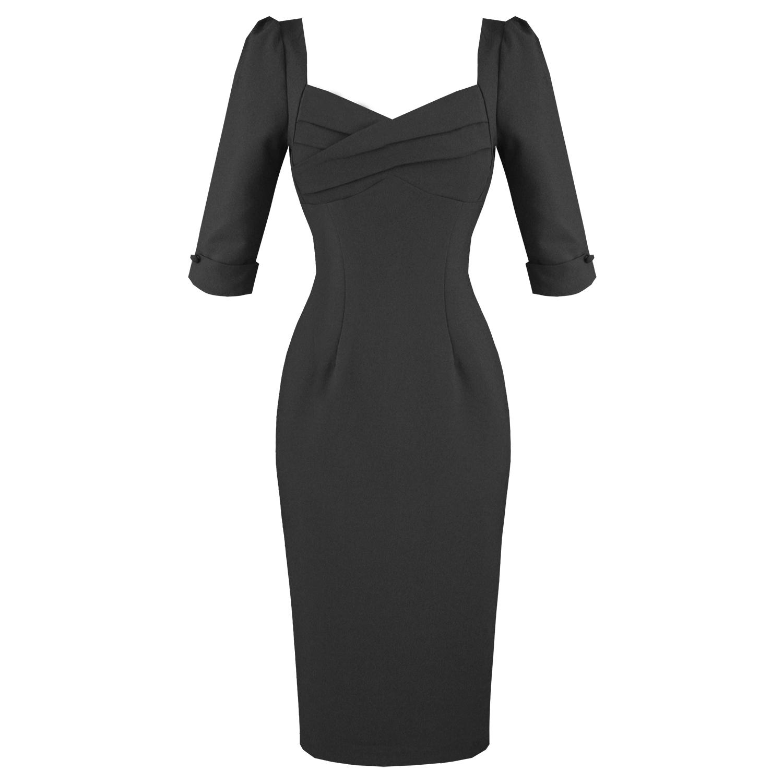 robe droite moulant collectif rizzo noir vintage annees 1950 manche 3 4 travail ebay. Black Bedroom Furniture Sets. Home Design Ideas