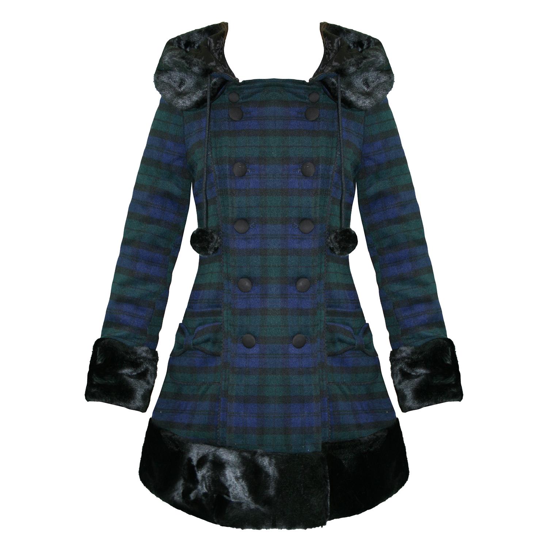 hell bunny manteau long femme carreaux bleu noir vert fausse fourrure hiver ebay. Black Bedroom Furniture Sets. Home Design Ideas