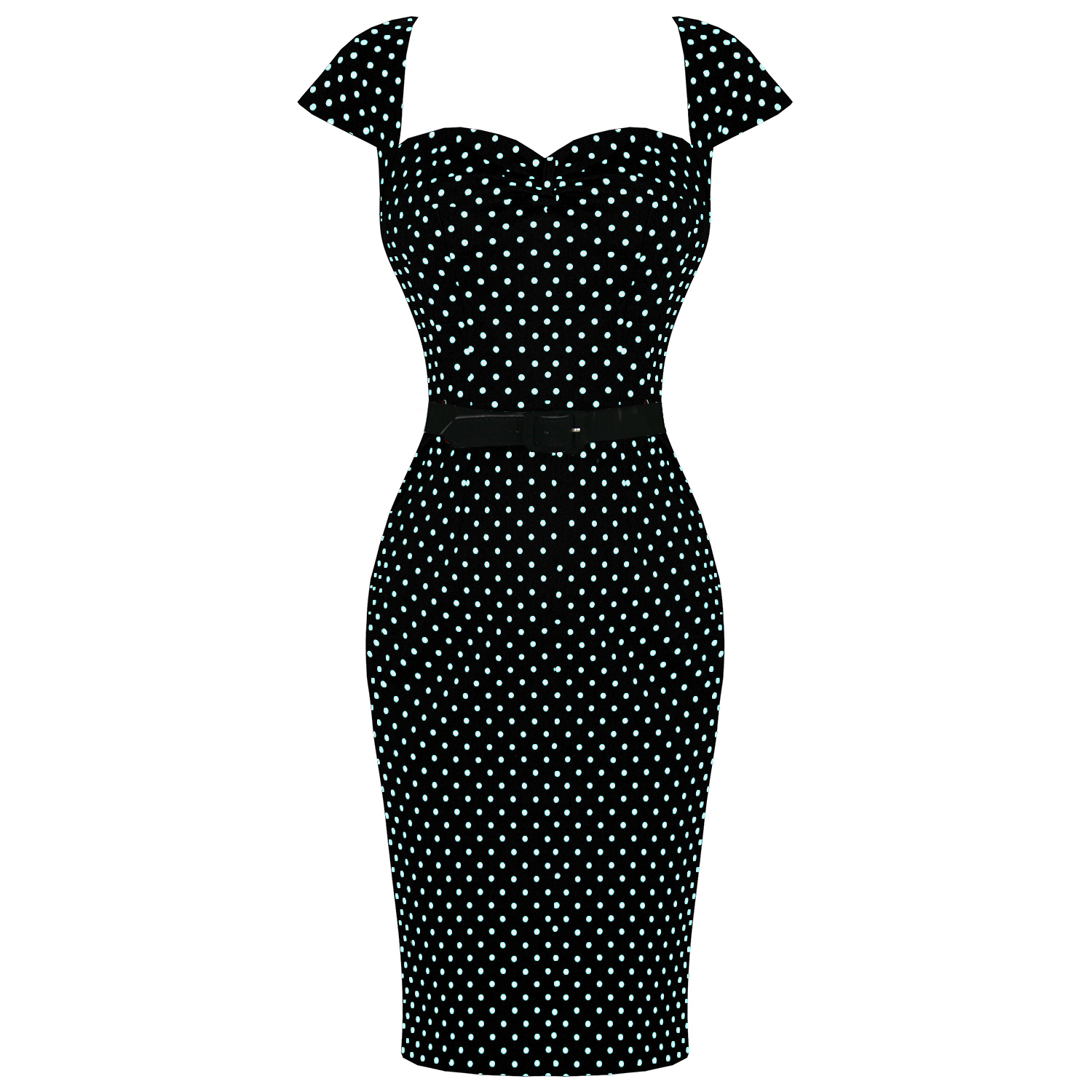 heii bunny pencil dress black white polka dot retro vintage style sexy fashion 50 years. Black Bedroom Furniture Sets. Home Design Ideas