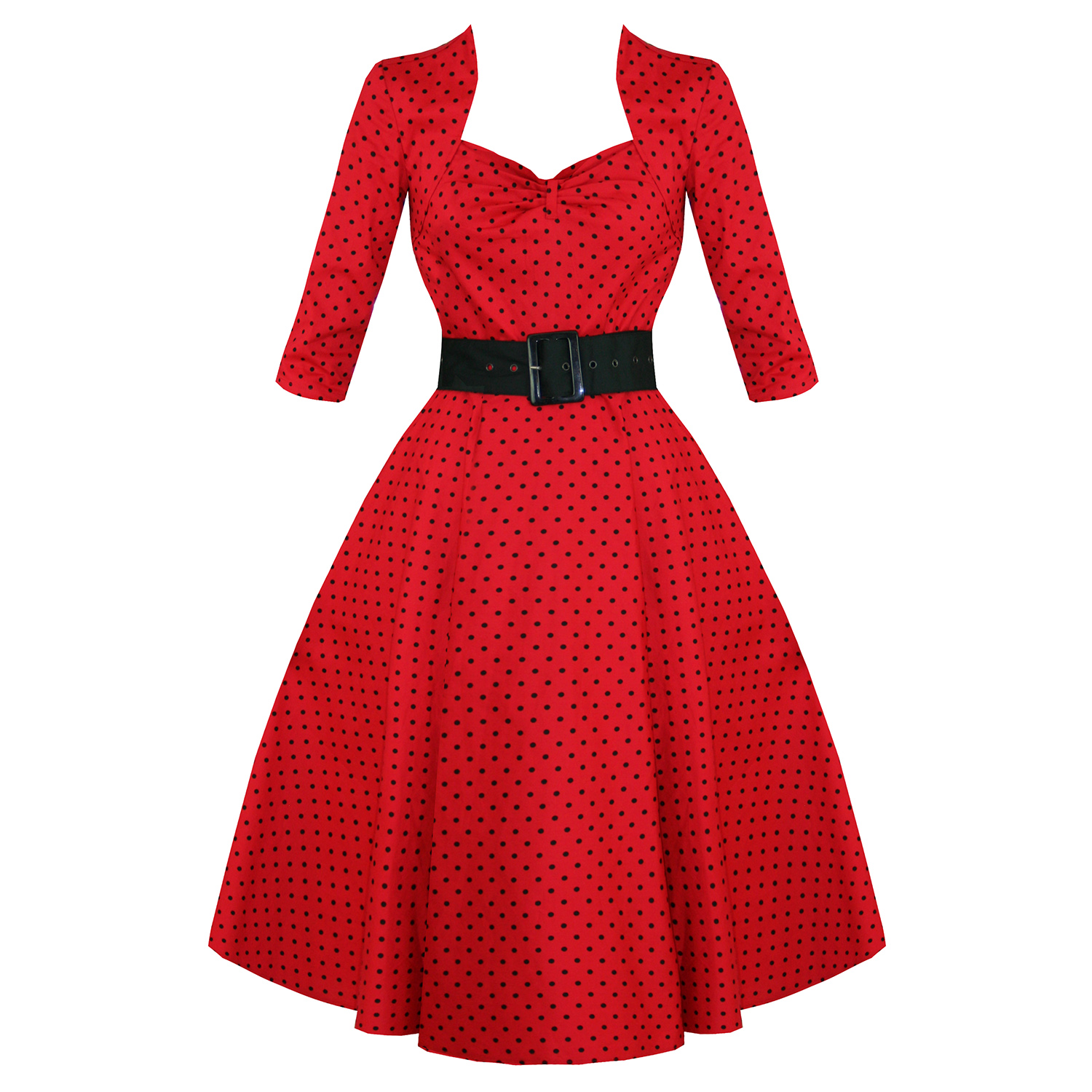 HELL BUNNY MOMO RED POLKA DOT 50S VINTAGE 3/4 SLEEVE FLARED SWING ...