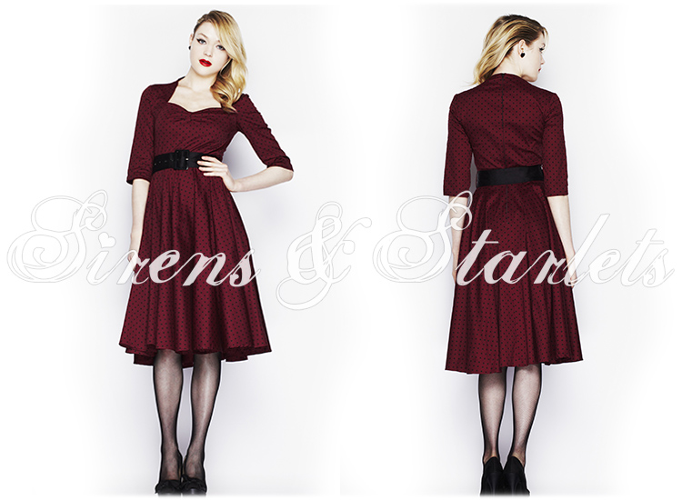 HELL BUNNY MOMO BURGUNDY POLKA DOT 50S VINTAGE 3/4 SLEEVE FLARE SWING PROM DRESS
