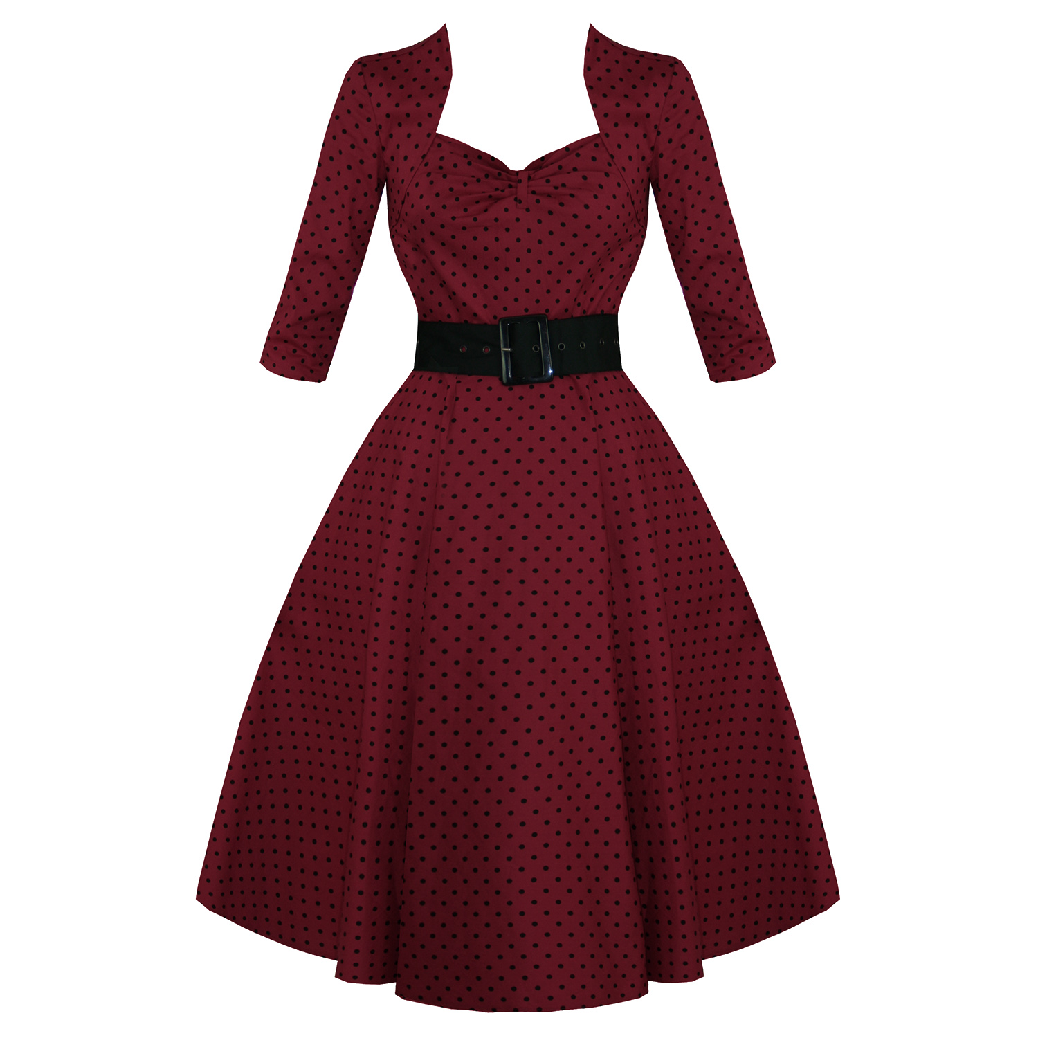 HELL-BUNNY-MOMO-BURGUNDY-POLKA-DOT-50S-VINTAGE-3-4-SLEEVE-FLARE-SWING-PROM-DRESS