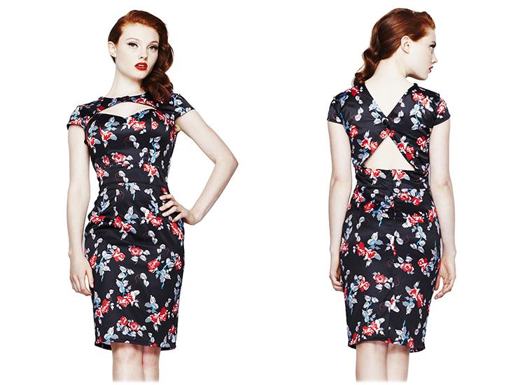 46d35389fb ... print midi dress  hell bunny rosalie black satin floral 50s vintage  career work fitted pencil dres ...
