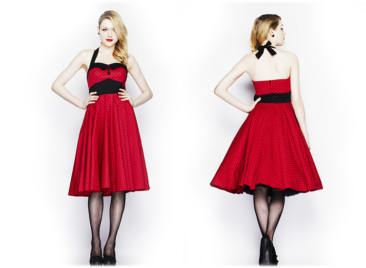 ... about Robe Ashley Hell Bunny Pois Rouge Evase Annees 50 Vintage Soiree