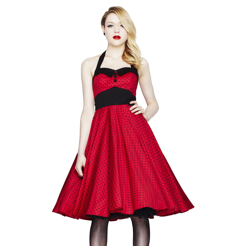 robe ashley hell bunny pois rouge evase annees 50 vintage soiree ebay. Black Bedroom Furniture Sets. Home Design Ideas